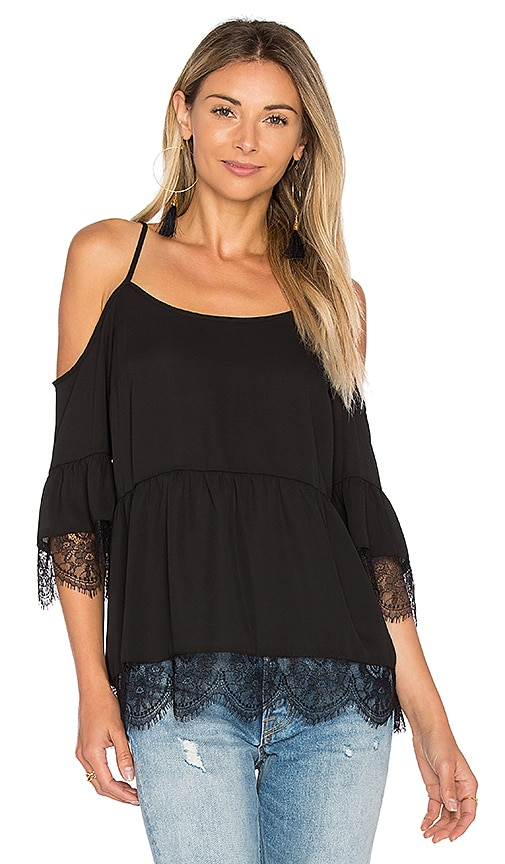 1. STATE Cold Shoulder Top with Lace Trim in Black