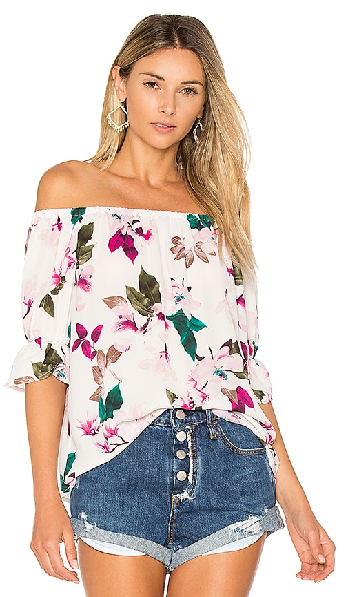 1. STATE Off Shoulder Blouse With Smocked Sleeves in White