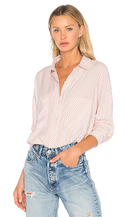 1. STATE Patch Pocket High Low Blouse in Pink