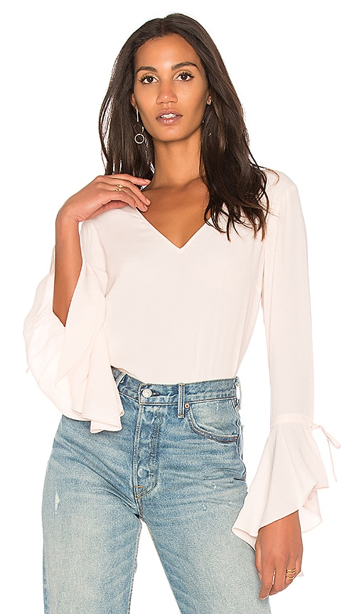 1. STATE V Neck Cascade Sleeve Top in Pink