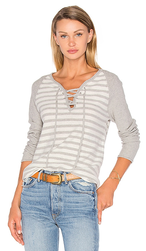 27 miles malibu Kita Lace Up Stripe Sweater in Gray