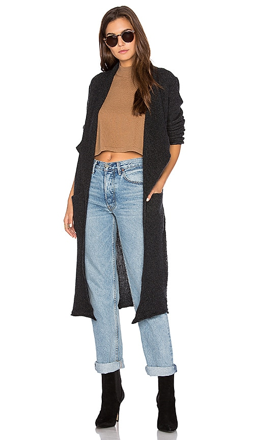 27 miles malibu Naida Long Cardigan in Charcoal