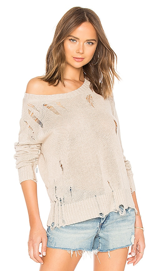 27 miles malibu Evalyn Distressed Crew Neck Sweater in Beige