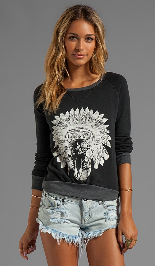 Floral Skull Long Sleeve Pullover Crew