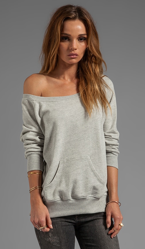 Off the Shoulder Sweatshirt with Zips