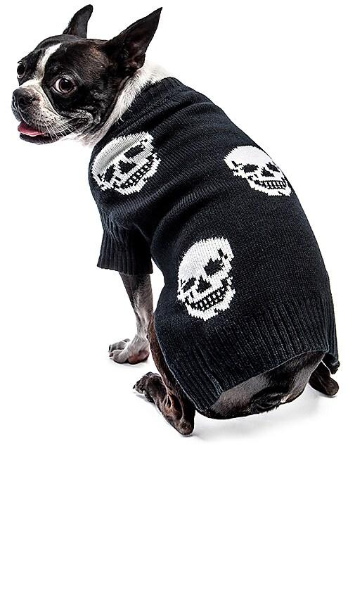360 Sweater Skull Dog Mini Luthor in Black & White Skull