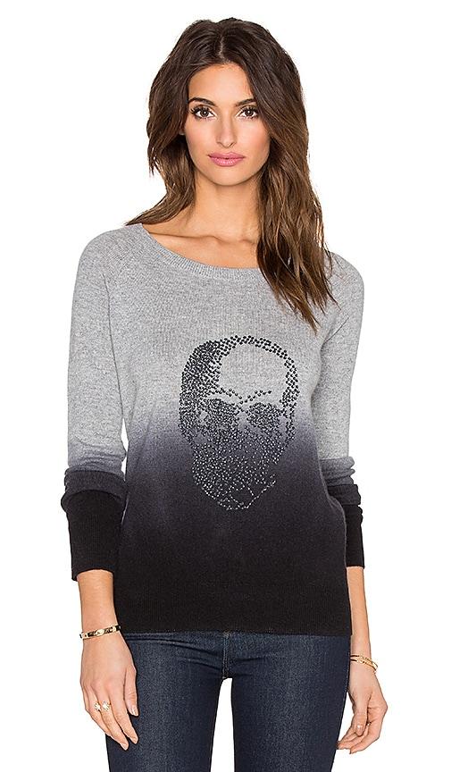 360 Sweater Biggie Crystal Skull Sweater in Heather Grey & Black Dip