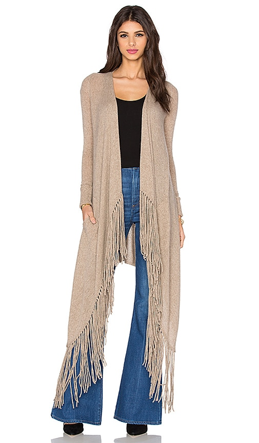 360 Sweater Waikiki Fringe Cardigan in Cafe Au Lait