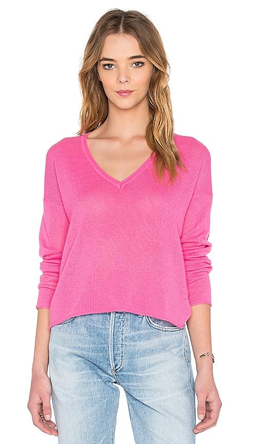 360 Sweater Ella V Neck Sweater in Flamingo