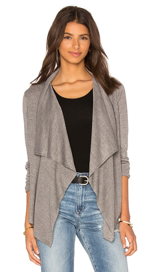 360 Sweater Rosanna Drape Front Cardigan in Gray