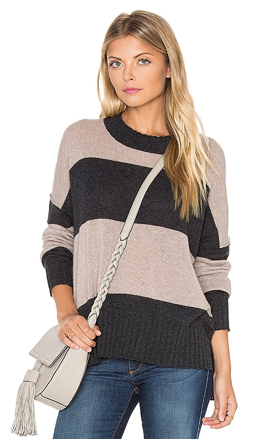 360 Sweater Toni Stripe Cashmere Sweater in Charcoal