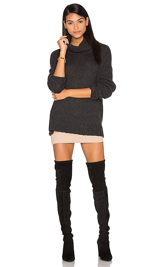360 Sweater Rhea Turtleneck Cashmere Sweater in Charcoal