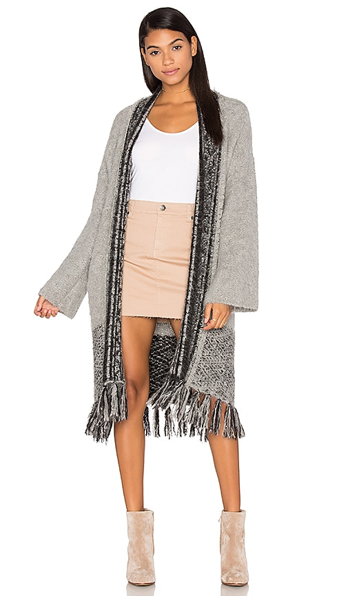 360 Sweater Riorose Cashmere Fringe Cardigan in Gray