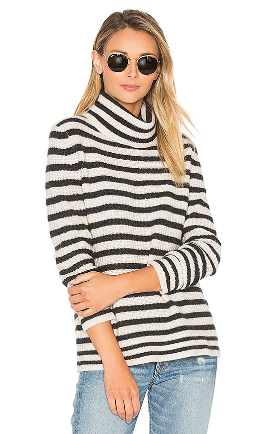 360 Sweater Quinn Stripe Sweater in Charcoal