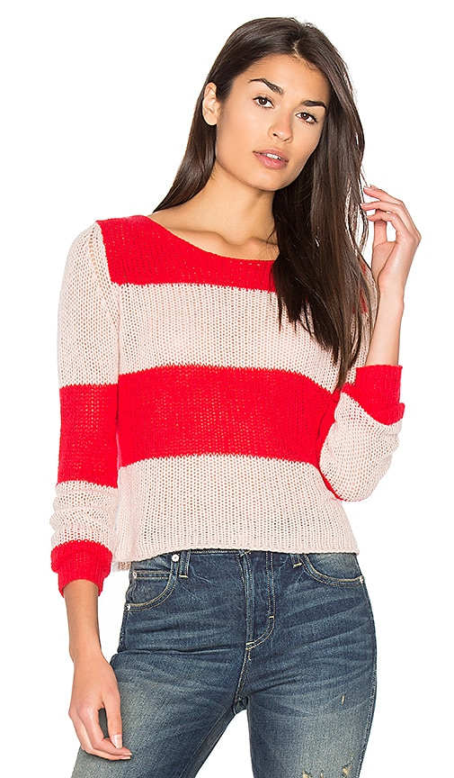 360 Sweater Remi Stripe Sweater in Red