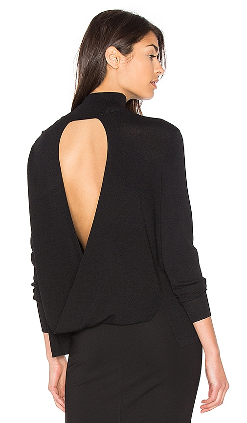360 Sweater Milana Open Back Sweater in Black