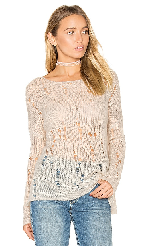 360 Sweater Nohemi Distressed Sweater in Taupe