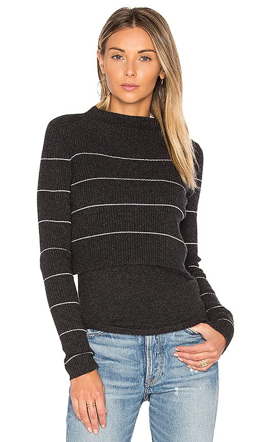 360 Sweater Isa Stripe Sweater in Gray