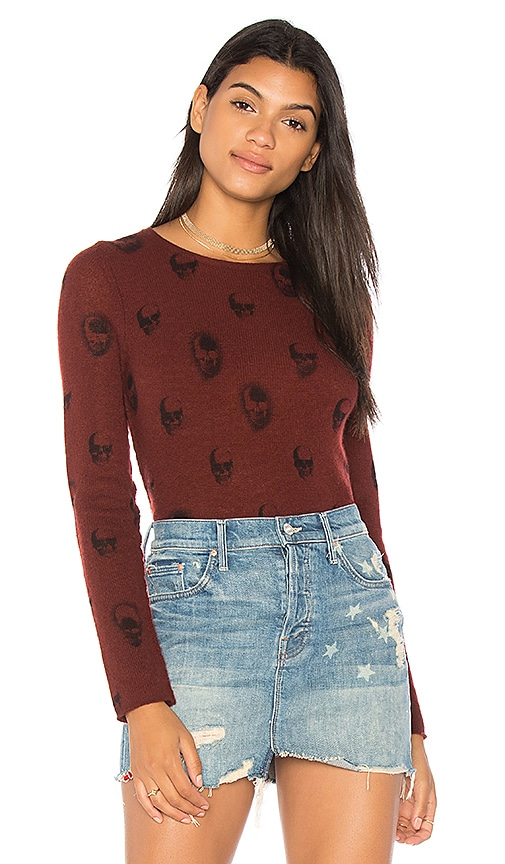 360CASHMERE Aubrey Skull Cashmere Sweater in Red