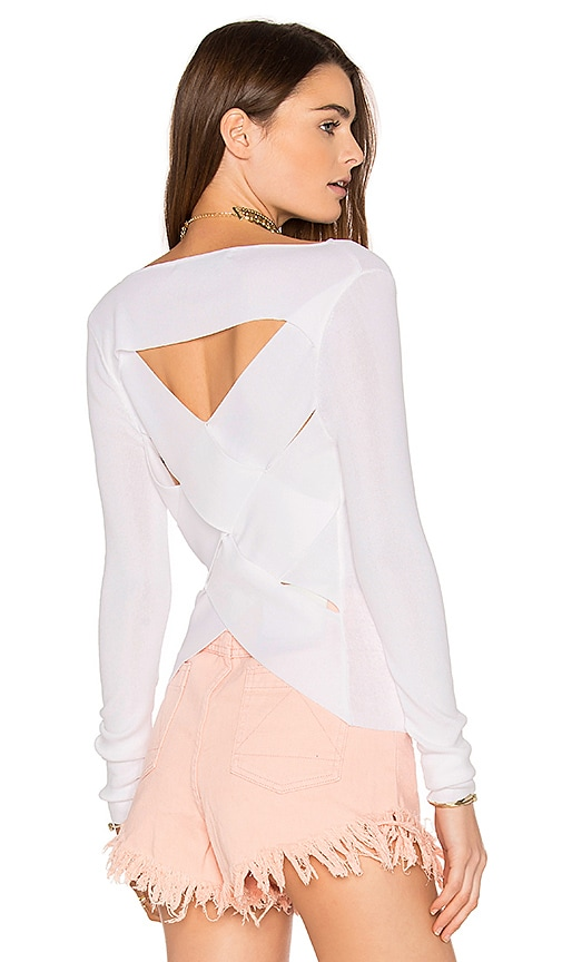 360 Sweater Veda Crossback Top in White