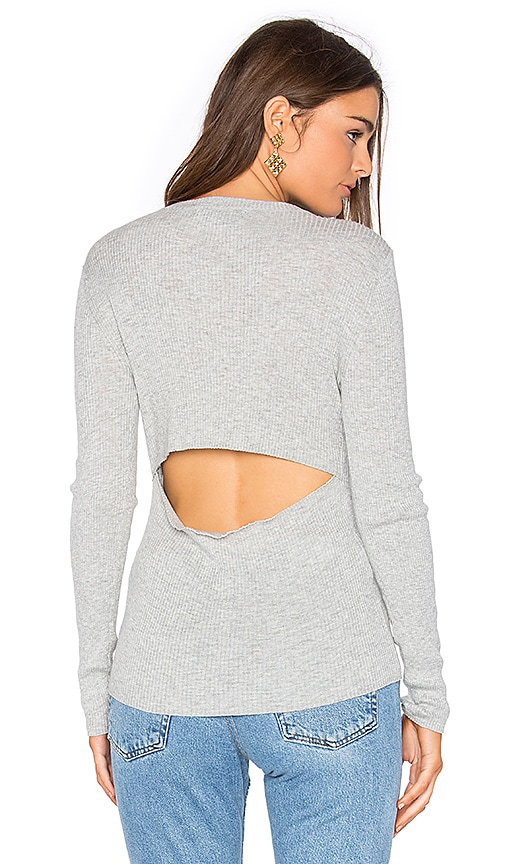 360 Sweater Casia Slit Back Top in Gray
