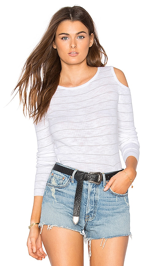 360 Sweater Furonda Open Shoulder Tee in White