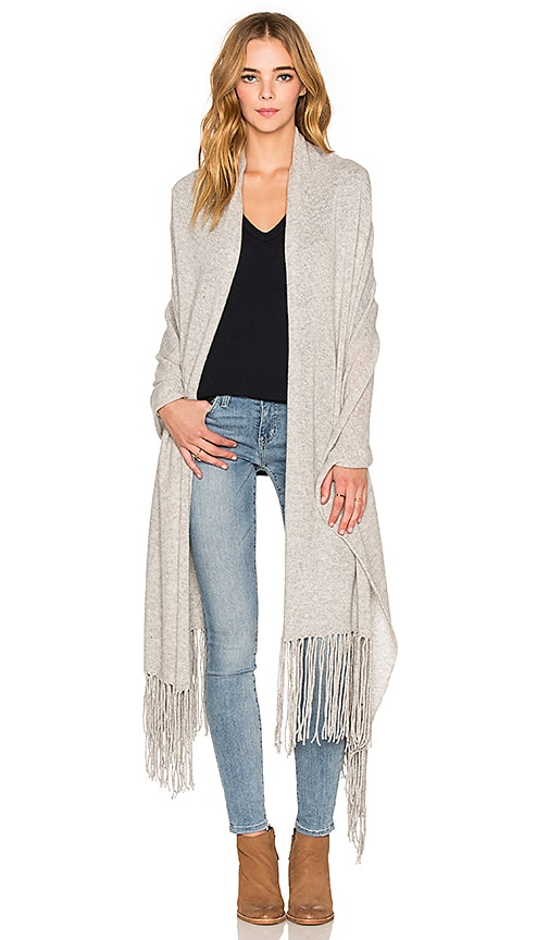360 Sweater Linus Fringe Travel Scarf in Light Heather Grey