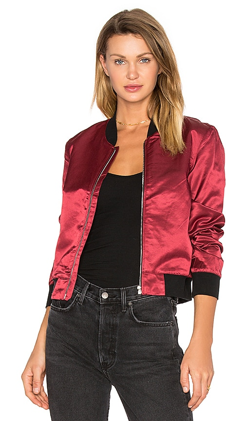 3x1 Satin Bomber Jacket in Red