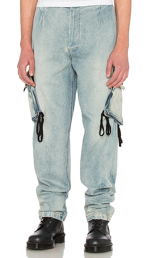 424 Denim Cargo Pant in Light Indigo