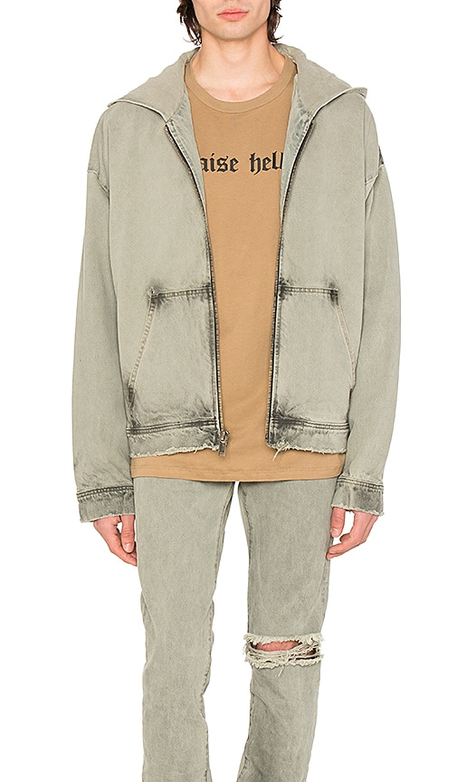 424 Denim Oversized Hooded Jacket in Light Indigo & Black Oil Wash