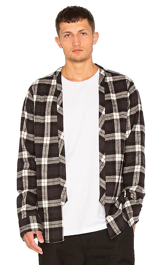 424 Flannel Throwover Shirt in Black & White