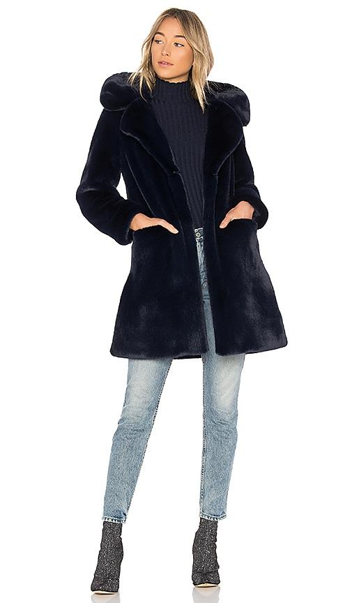 5149 Buckled Faux Fur Coat in Blue