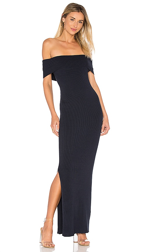 525 america Off Shoulder Maxi Dress in Navy
