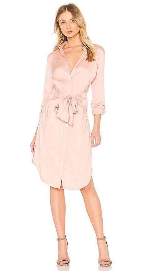 525 america Tie Waist Shirt Dress in Blush
