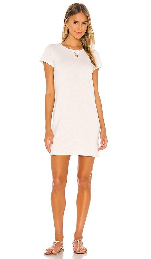 525 America Sleeveless Dress in White Linen Melange