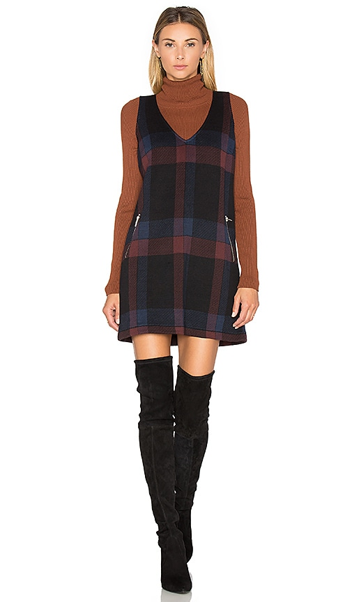 Plaid V Neck Jumper Dress