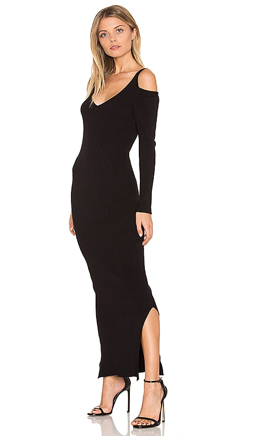 525 america Rib Cold Shoulder Maxi Dress in Black