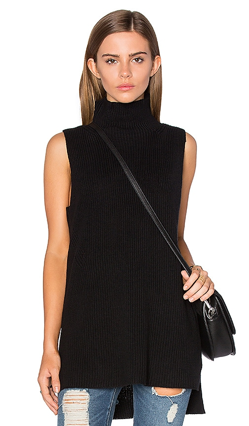 525 america Mock Neck Sleeveless Sweater in Black