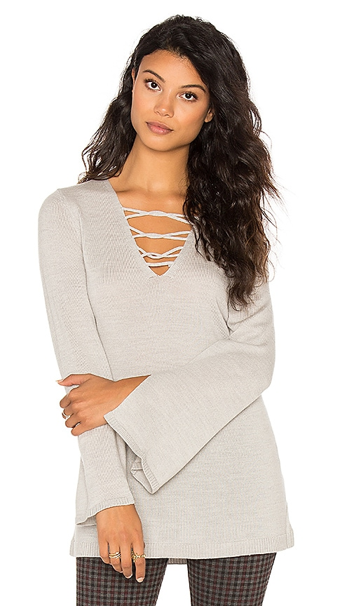 525 america Lace Front Sweater in Light Gray