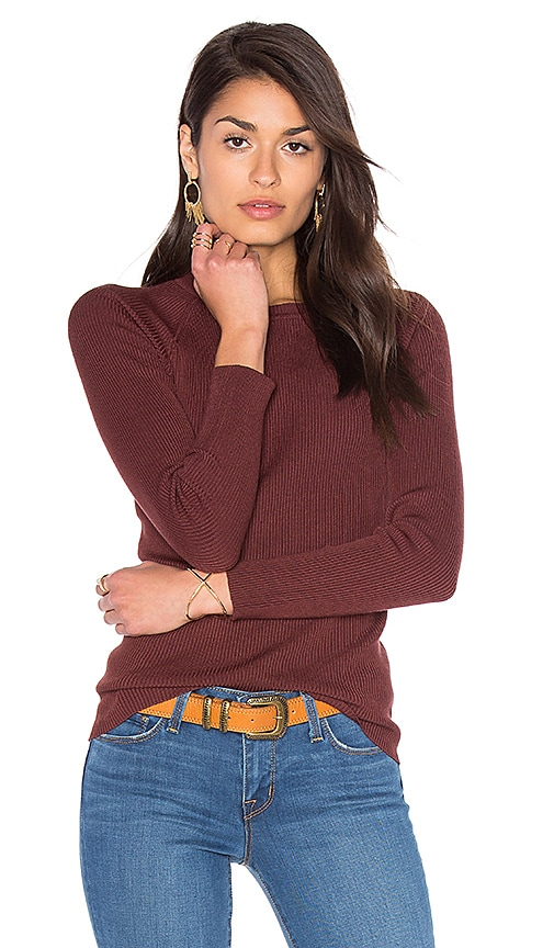 525 america Rib Crew Neck Sweater in Brown
