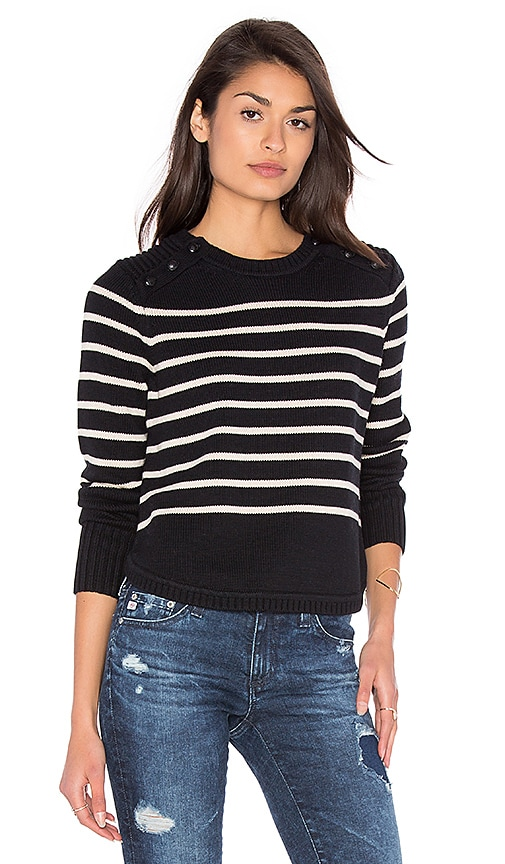 525 america Stripe Crew Neck Sweater in Black