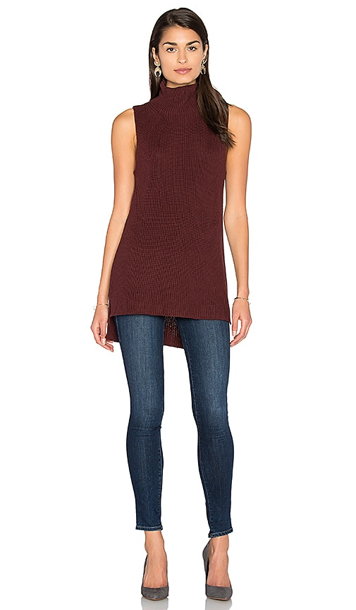 525 america Sleeveless Mock Neck Sweater in Brown