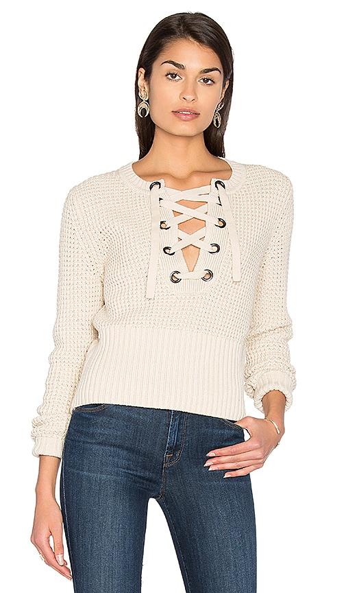 525 america Lace Up Sweater in Beige