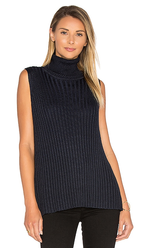 ef0da6e0b1 525 america Sleeveless Turtleneck Sweater in Classic Navy durable modeling