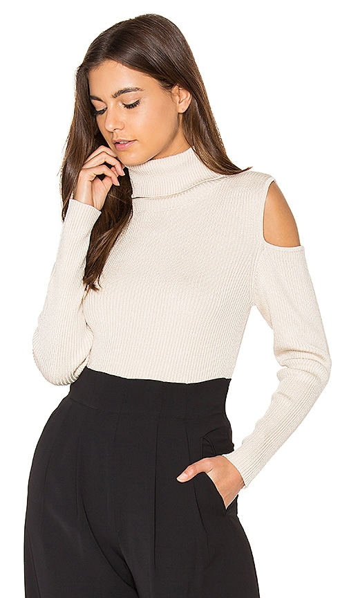 525 america Cut Out Ribbed Turtleneck Sweater in Beige