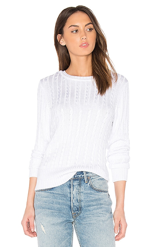 525 america Chiffon Tie V Back Sweater in White