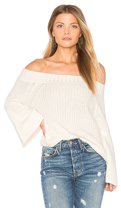 525 america Off Shoulder Tulip Sweater in Ivory