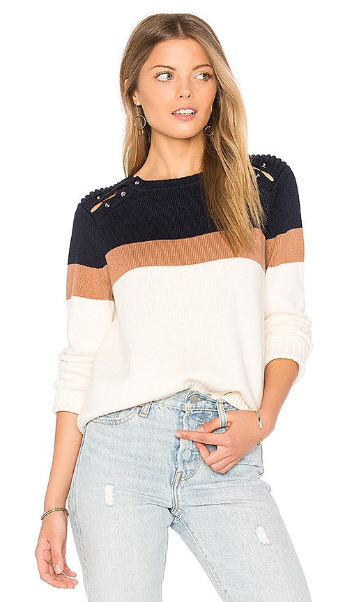 525 america Stripe Shoulder Barbell Sweater in Navy