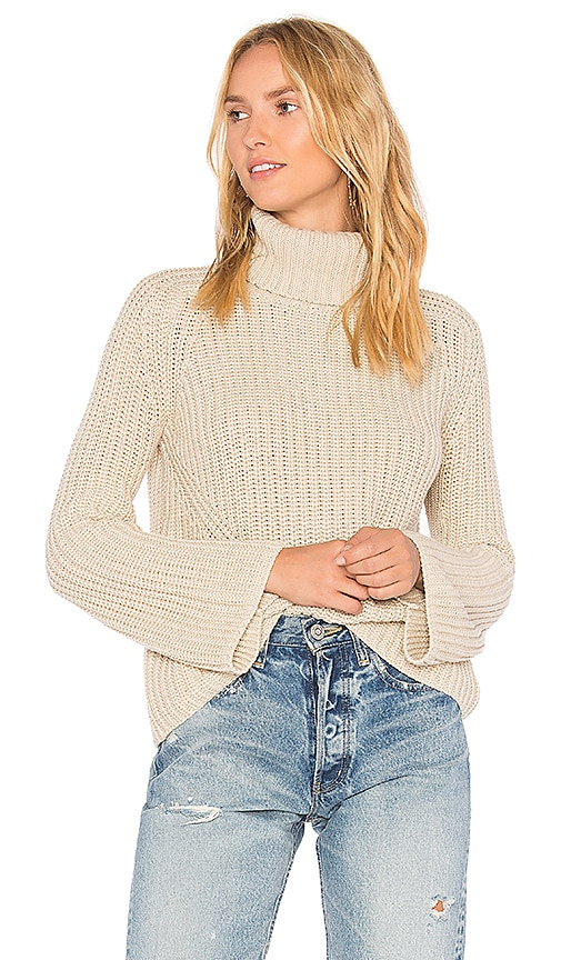 525 america Turtleneck Bell Sleeve Sweater in Beige