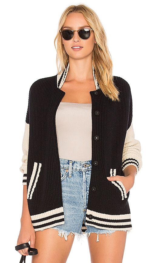 525 america Oversize Baseball Cardigan in Black